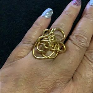 Gold twister wire ring handmade